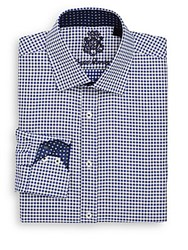 English Laundry Checked Cotton Dress Shirt Navy
