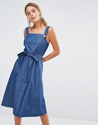 Oasis Chambray Pinafore Belted Dress Denim Blue