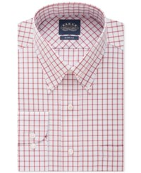 Eagle Men's Classic Fit Non Iron Red Tattersall Dress Shirt Medium Red