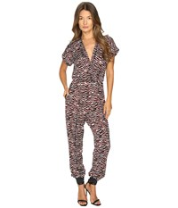 Just Cavalli Zebra Vibe Print Short Sleeve Jumpsuit Corallo Red Women's Jumpsuit And Rompers One Piece