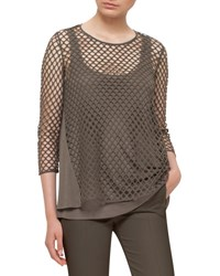 Akris Punto Mesh Front 3 4 Sleeve Top Olive