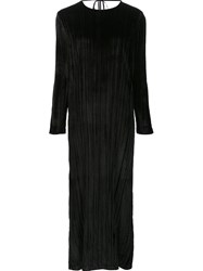 Rosetta Getty Long Pleated Dress Black