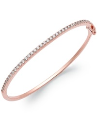 Arabella 14K Rose Gold Over Sterling Silver Swarovski Zirconia Bangle Bracelet 1 3 4 Ct. T.W. Clear
