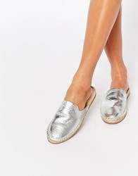 Aldo Slip On Metallic Espadrilles Silver