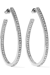 Kenneth Jay Lane Silver Tone Crystal Hoop Earrings