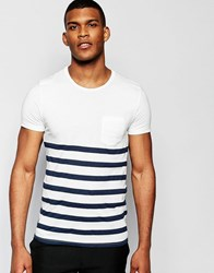 United Colors Of Benetton Breton Stripe T Shirt With Pocket Navy Blue