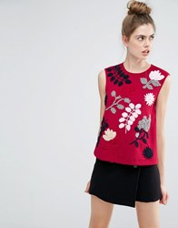 Sportmax Code Fiacre Embroidery Detail Sleeveless Top Bordeaux Red