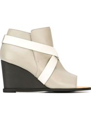 Mm6 Maison Margiela Open Toe Strapped Wedge Booties Grey