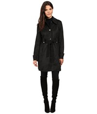 Jessica Simpson Sueded Rain Trench With Stitching Detail Single Breasted Belted Black Women's Coat