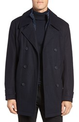 Marc New York Men's By Andrew Cushing Wool Blend Peacoat With Detachable Bib Ink