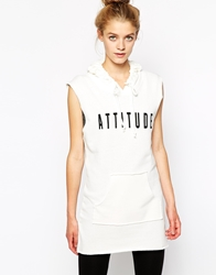 Vila Hooded Sleeveless Sweat Dress White
