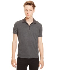 Kenneth Cole Reaction Quarter Zip Polo Charcoal Heather