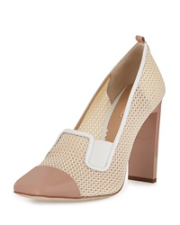 Reed Krakoff Mesh Atlas Square Toe Pump Nude White
