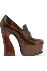 Maison Martin Margiela Glossed Leather Platform Pumps Brown