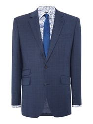 New And Lingwood Eastleigh Check Suit Jacket Navy