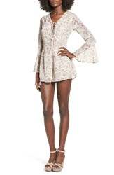 Lush Women's Lace Up Bell Sleeve Romper Mint Taupe Floral