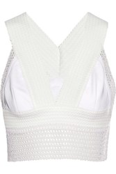 Jonathan Simkhai Cord And Lace Trimmed Crepe Bra Top White