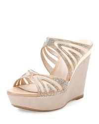Rene Caovilla Crystal Embellished Two Band Wedge Slide Sandal Beige Topaz