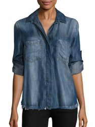 Bella Dahl Frayed Hem Split Back Shirt Islay Wash