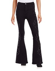 Free People Studded Flare Jeans Black