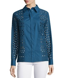 See By Chloe Long Sleeve Eyelet Dress Shirt Navy
