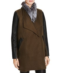Rebecca Minkoff Tiff Fur Collar Coat Dark Olive