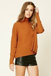 Forever 21 Contemporary Ribbed Cape Top Ginger