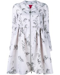 Moncler Floral Print Bell Coat White Multi Coloured Silver