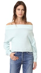 Opening Ceremony Off Shoulder Sweater Glacier Blue