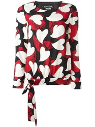Boutique Moschino Heart Print Blouse Black