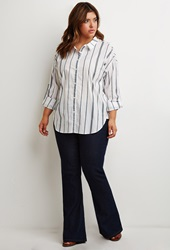 Forever 21 Gradated Stripe Shirt White Black