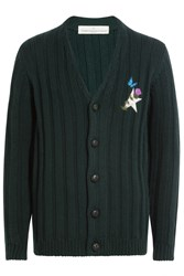 Golden Goose Virgin Wool Cardigan With Embroidered Detail Green