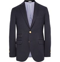 Michael Bastian Navy Suede Elbow Patch Wool Cotton And Cashmere Blend Blazer Blue