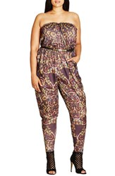 City Chic Plus Size Women's 'Blurred Dream' Print Strapless Jumpsuit