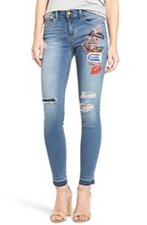 Sp Black Women's Patch Detail Destroyed Skinny Jeans