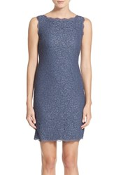 Petite Women's Adrianna Papell Boatneck Lace Sheath Dress