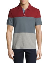 Short Sleeve Colorblock Polo Shirt Red