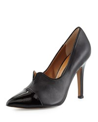 Kay Unger Nareen Leather Cap Toe Pump Black