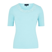 Viyella Sequin Jersey Top Turquoise