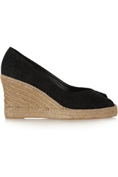 Penelope Chilvers Snake Effect Suede Espadrille Wedge Black