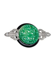 Kenneth Jay Lane Jade Inspired Pin Green