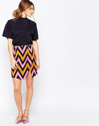 Traffic People Slit Skirt In Chevron Print Multi