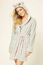 Forever 21 Hooded Mouse Robe Grey Pink