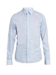 Valentino Striped Cotton Poplin Shirt Blue Stripe