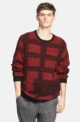 Plaid Mohair Blend Crewneck Sweater Red Black