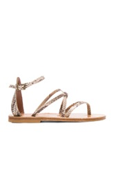 K Jacques Epicure Leather Sandals In Neutrals Brown Animal Print