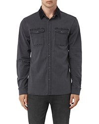 Allsaints Dyce Slim Fit Button Down Shirt Graphite Gray