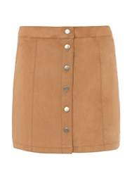 Dorothy Perkins Suedette Button Mini Skirt Brown