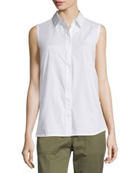 3.1 Phillip Lim Sleeveless Back Overlay Poplin Blouse White