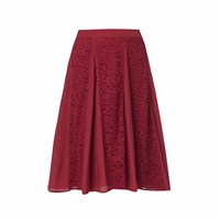 Wtr London Victoria Lace Panel Flare Skirt Burgundy Red